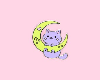 Moon & Stars Galaxy Cat - Hard Enamel Gold Lapel Pin Kawaii Kitty