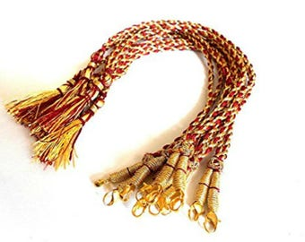 GOELX Designer Back Rope Dori for Necklace, Connecting Dori for Necklace Making, Silk Thread/Terracota Jewellery, Quilling - Red and Gold
