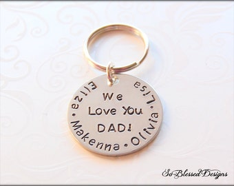 Gifts for DADDY, Personalized Keychain, Gifts for Dad, Dad Keychain, Hand stamped key chain, Christmas gifts for Dad
