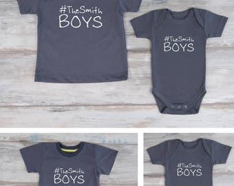 Big Brother Little Brother Shirts, #TheSmithBoys (Custom Last Name) Shirt, Baby Bodysuit or Boys T-Shirt, Boy Gifts, Cool Gifts