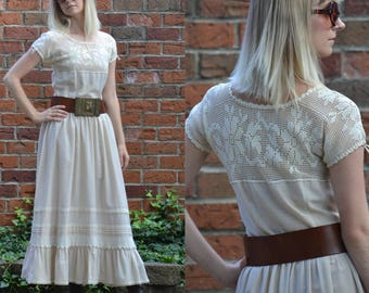 vintage 70s Crochet Lace Dress | Peasant Prairie Princess Cotton Gauze Boho Wedding Maxi Dress | Sheer Bodice