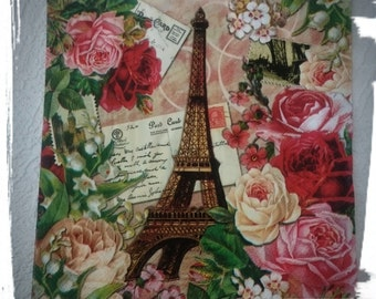 1 Single Decoupage Paper Napkins,Eiffel Tower and Roses,Tissue napkins,Party Napkins,Scrapbooking,Collage, Mixed Media, Crafts,Serviettes