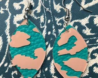 Turquoise & Leopard Oval Earrings - Oval Earrings - Lightweight Earrings - Handmade Jewelry - Faux Leather Earrings