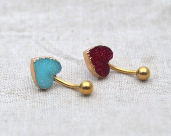 Sale-druzy belly button rings belly ring heart belly button jewelry,navel ring,bff gift