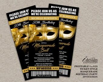50th Birthday Party Masquerade Ball Ticket Invitation | Printable Gold Mask Mardi Gras Themed Invitations Tickets Style