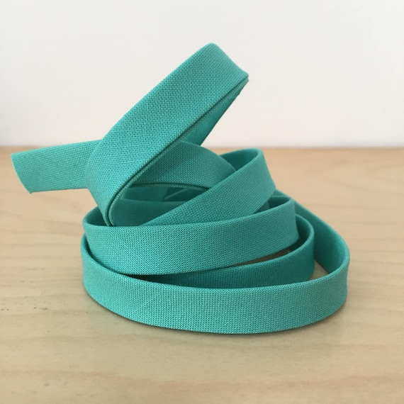 "Bias Tape- Kona Candy Green 1/2"" double-fold cotton binding- Teal Green- 3 yard roll"