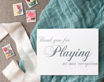 Thank You For Playing at Our Reception Card   Card for Wedding Band   Card for DJ   Card for Wedding Vendor   Way to Thank Wedding Vendor