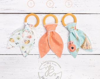 Teepee Natural Maple Wood Teething Rings, Girl's Wood Teething Toy, Bunny Ears Teether, Bunny Ear Teething Ring, Teething Toy, Made in USA