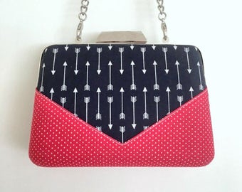 Navy, Red & White Arrows and Polka Dots Minaudière Clutch