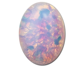 Czech Harlequin Opal Oval Glass Cabochons Japan 18mm x 13mm (2) cab440N