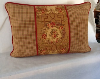 Burnt Gold Plaid and Flower Pillow Cover
