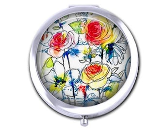 Floral pocket mirror, flower compact mirror, watercolor, bridesmaid gift for her, mothers day gift,  purse mirror.