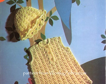 Vintage Babys Crochet Dress and Hat Pattern PDF B125 from WonkyZebraBaby