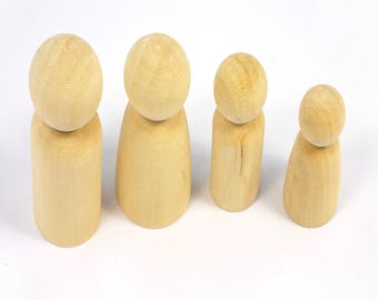 Small & Large Wooden People Family 3D Solid Peg Dolls Ready to Decorate Pack of 8