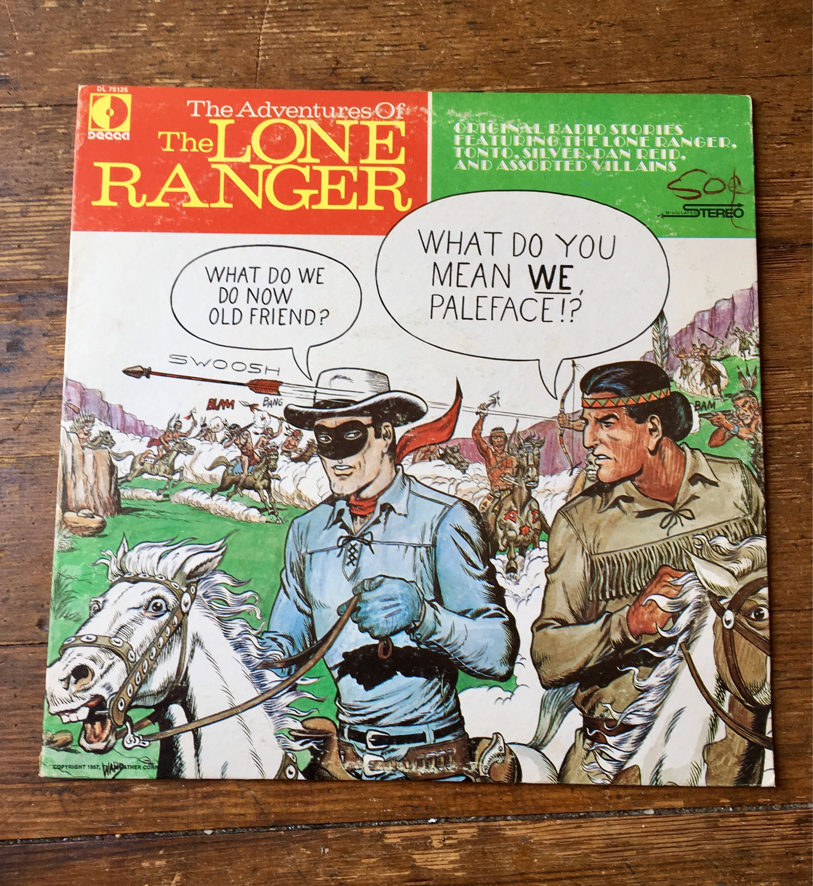 1957 The Adventures of the Lone Ranger Vinyl Record DL 75125  VG
