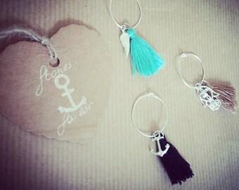 925 Silver Circle earring, tassel and charms Hamsa\Piuma\Ancora