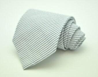 Gray Seersucker Necktie - Light Gray Men's Tie
