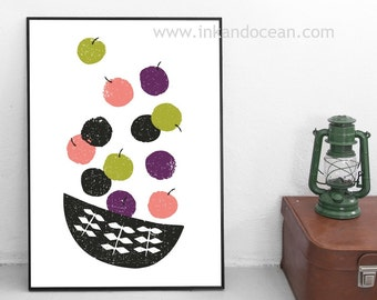 Mid Century Fruit Bowl Canvas Art Print, Mid Century Inspired Art
