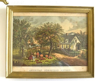vintage framed print American Homestead Aitumn colored country print