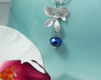 Silver and Cobalt Blue Orchid Necklace flower dangle pendant silver orchid ORCHID Bridesmaid Necklace