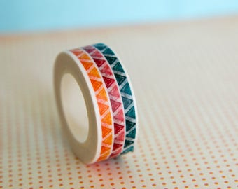 Masking tape, washi tape colored triangles 15mm x 10m