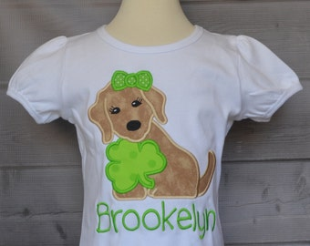 Personalized Puppy Dog with Shamrock Applique Shirt or Bodysuit Girl or Boy