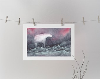 Watercolor print,fine art prints,mountain art,starry,night sky print,northern lights,watercolor landscape,fantasy animal,monster painting.