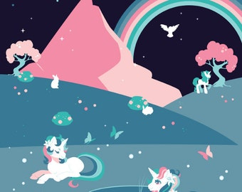 Magical Unicorns A4 Shimmery Art Print