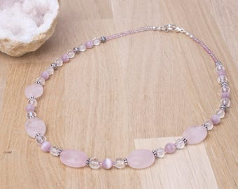 Rose Quartz Necklace - Catseye and faceted pink quartz gemstone necklace | Pretty bead jewellery | Oval gem beaded necklace | Gift for her