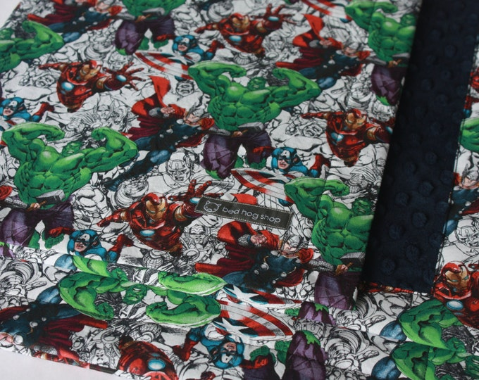 Marvel Avengers Baby Blanket--Sketches-MTO