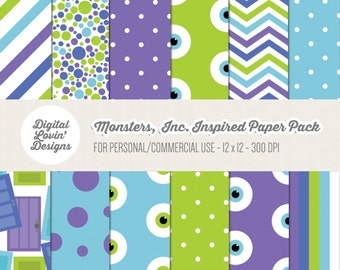 INSTANT DOWNLOAD - 12 Monsters, Inc. Digital Papers for Scrapbooking, Crafts, Invitations for Commercial and Personal Use