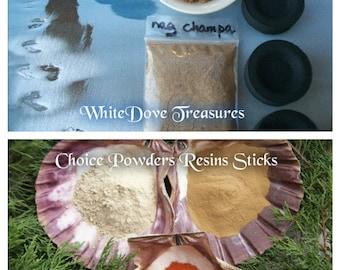 Nag Champa Incense Set ~ Powder ~ Sticks ~ Charcoal Discs ~ Resin Choice Copal Vetivert Sandalwood Frankincense Tears