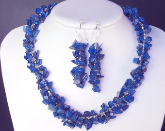 Set of Lapis lazuli Chip Beads Chained Dangle NSLL1502