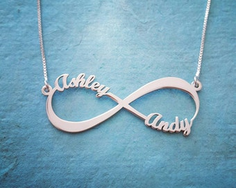 2 Name Silver Infinity Necklace / Endless love Infinity name necklace / Infinity nameplate / Mother Necklace / Order any name! Free shipping