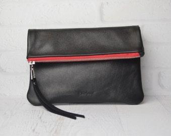 Foldover leather Clutch Pouch / carryall / handbag / purse / evening bag