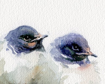 Swallows painting, giclee print of original watercolor, little swallows watercolor print