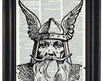 Dictionary Art Print Viking Dictionary Art Print  Upcycled Vintage Dictionary Book Page Print