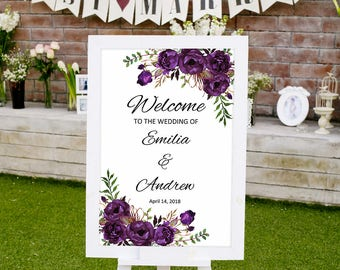 Welcome Wedding Sign Template, Eggplant Wedding Reception Sign, Printable Wedding Sign, #A039, INSTANT DOWNLOAD, Editable PDF