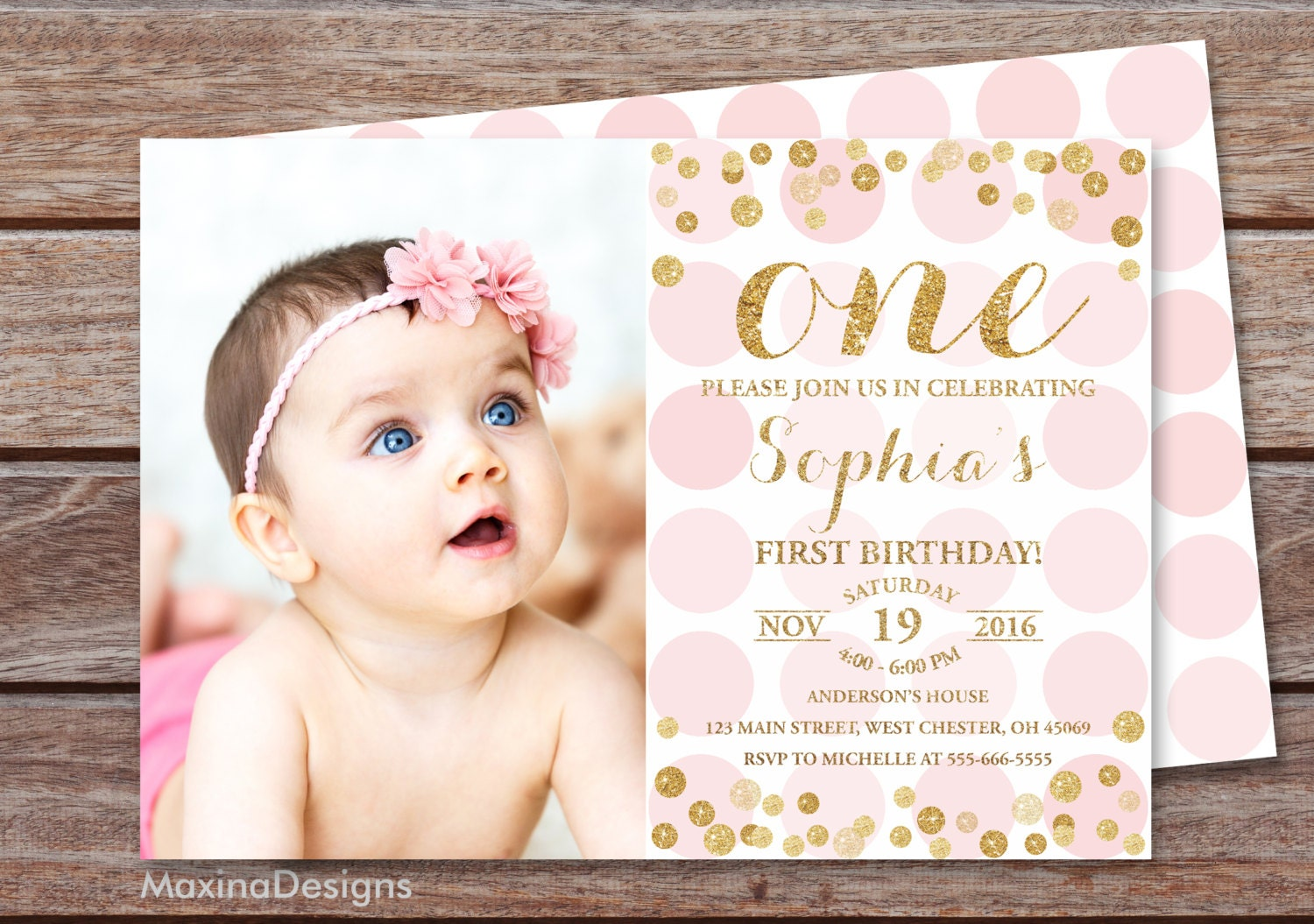 First birthday invitation girl 1st birthday pink and gold zoom stopboris Choice Image