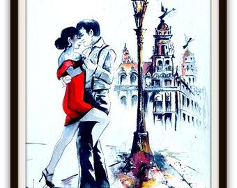Havana Original Painting, Sensual Dance Watercolor, Romantic Gift, Wanderlust by Lana Moes, Cuba Travel Art, Havana Poster, Art Collector