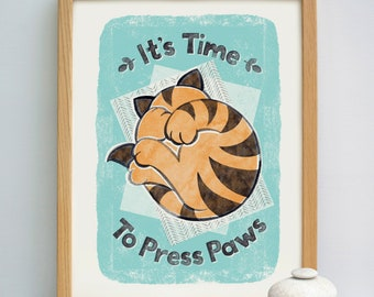 Cat Print | Cat Lovers Print | Bedroom Print | Bedtime Print | Nursery Print | Childrens Bedroom Print | Kids Bedroom Print | Kids Room Art