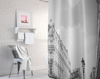 Paris Shower Curtain, Bathroom Decor, Black And White, French Decor,  Apartment Decor
