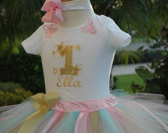 1st birthday girl outfit, twinkle twinkle stars tutu dress,one year old girl first girl outfit,baby girl shabby chic,one year,tutu skirt