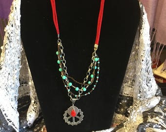 Trendy suede corded necklace with medallion