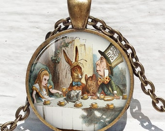 Alice In Wonderland Jewelry, A Mad Tea Party ,Mad Hatter March Hare, Fairy Tale Art Pendant in Bronze or Silver with Link Chain Include