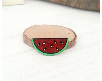 Watermelon hand painted wooden brooch