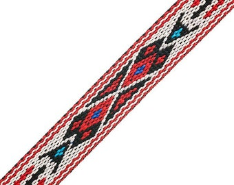 "3/4"" Woven Hitched Webbing Trim - White/Red - 5 Feet"