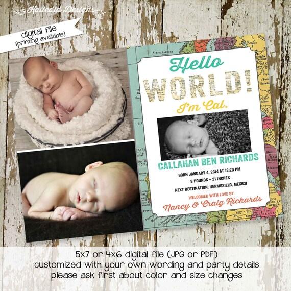 sonogram pregnancy announcement baby birth stats announcement world map hello world baby shower little boy 1st birthday 410 Katiedid Designs