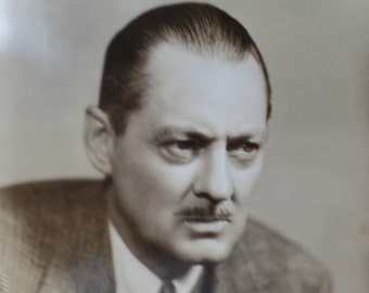 Lionel Barrymore, Original Photograph, Sepia, Numbered, Hollywood Memorabilia, Promotional Press Release, Actor