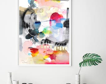 Art prints, abstract acrylic painting print, modern wall art giclee print, colorful art, VictoriAtelier